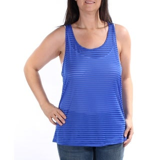 Womens Blue Striped Sleeveless Scoop Neck Active Wear Top Size L