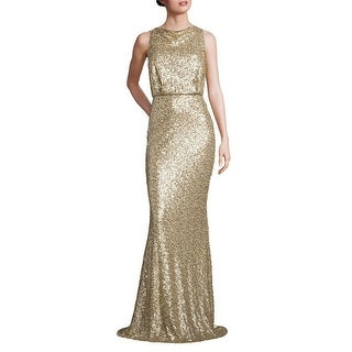 Badgley Mischka Sequined Blouson Evening Gown Dress Champagne - 14