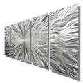 Statements2000 Extra Large Silver 5 Panel Modern Metal Wall Art Sculpture by Jon Allen - Vortex 5P XL - Thumbnail 5