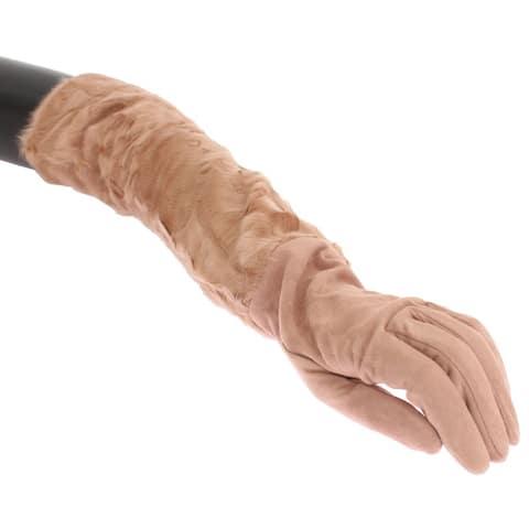 Dolce & Gabbana Beige Suede Xiangao Fur Elbow Women's Gloves - 8m