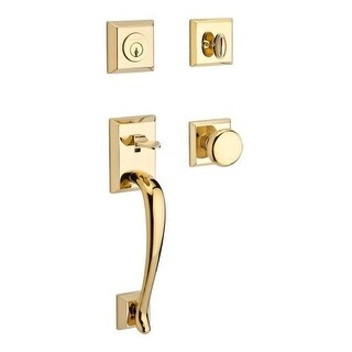 Baldwin SC.NAPXROU.TSR Napa Single Cylinder Keyed Entry Handleset with Traditional Square Rose and Round Knob on Interior
