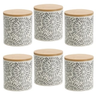 Link to Pfaltzgraff Gray Floral 4.5IN Canister with Bamboo Lid Similar Items in Kitchen Storage