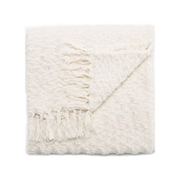 "Ivory/White Polyester and Cotton Throw - KIN03 50""x60"""