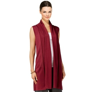 Joseph A Shawl Collar Open Front Duster Sweater Vest