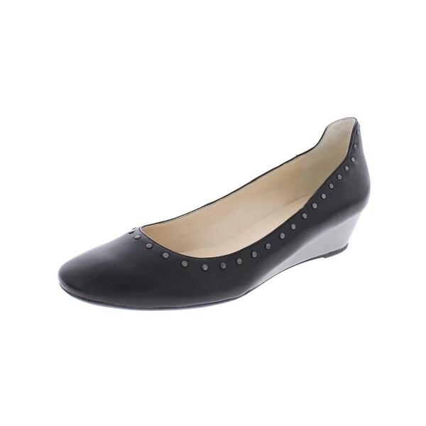 Karl Lagerfeld Paris Womens Berdine Wedge Heels Leather Studded