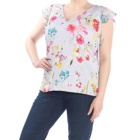 RACHEL ROY Womens Purple Floral Cap Sleeve V Neck Peasant Top Plus Size: 1X