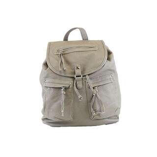 Hearty Trendy Grey Zipper Flap Pocket Faux Leather Backpack - One size