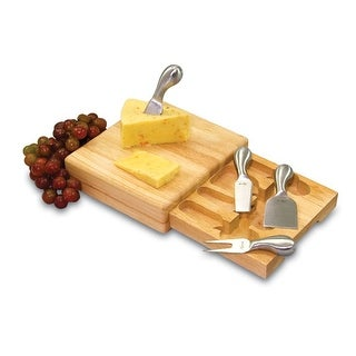 Picnic Time 852-00-505 Festiva Cheese Cutting Board with Slide-Out Drawer, Cheese Tools
