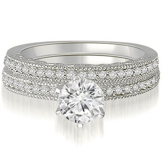 Link to 0.85 CT Petite Antique Milgrain Round Diamond Bridal Set in 14KT Gold - White H-I Similar Items in Wedding Rings