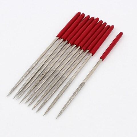 10 Pcs Red Plastic Handle Round Type Diamond Files Set Handy Tool 140mm x 3mm