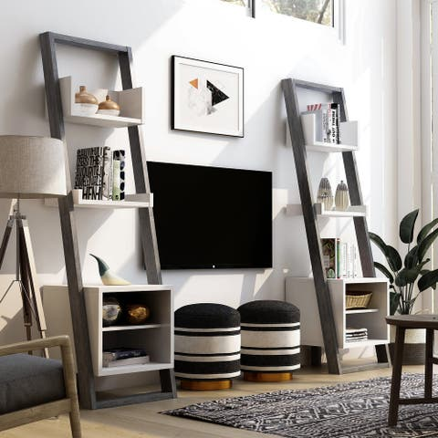 Furniture of America Isabelle Mid-century Modern 5-shelf Media Pier (Set of 2)