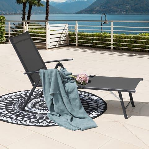 NUU GARDEN Outdoor Textilene Single Chaise Lounge