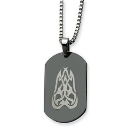 Chisel Stainless Steel Fancy Scroll Black Dogtag 26 Inch Necklace (2 mm) - 26 in