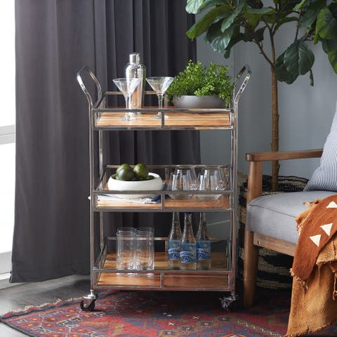 Brown Stainless Steel Contemporary Bar Cart 35 x 29 x 20 - 29 x 20 x 35