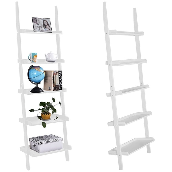 Costway Versatile White 5 Tier Bookshelf Leaning Wall Shelf Ladder Bookcase Storage Display Furni