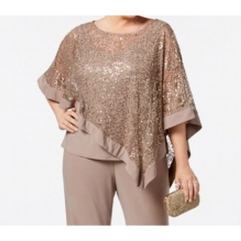 R&M Richards Mocha Brown Womens Size 14W Plus Sequin-Lace Blouse