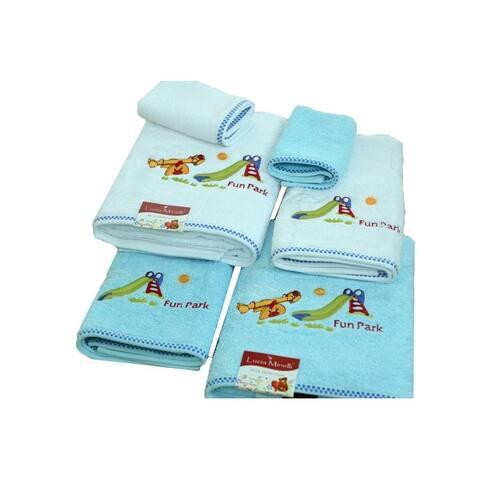 Lucia Minelli Kid's Embroidered Fun Park Design Turkish Cotton Bath Towel Set of 6