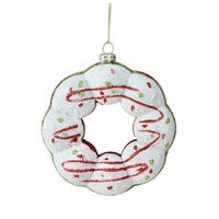 "4.25"" White, Green and Red Doughnut Christmas Ornament - White"