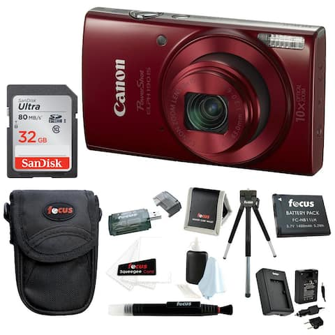 Canon PowerShot ELPH MP Digital Camera (Red) with Accessory Bundle