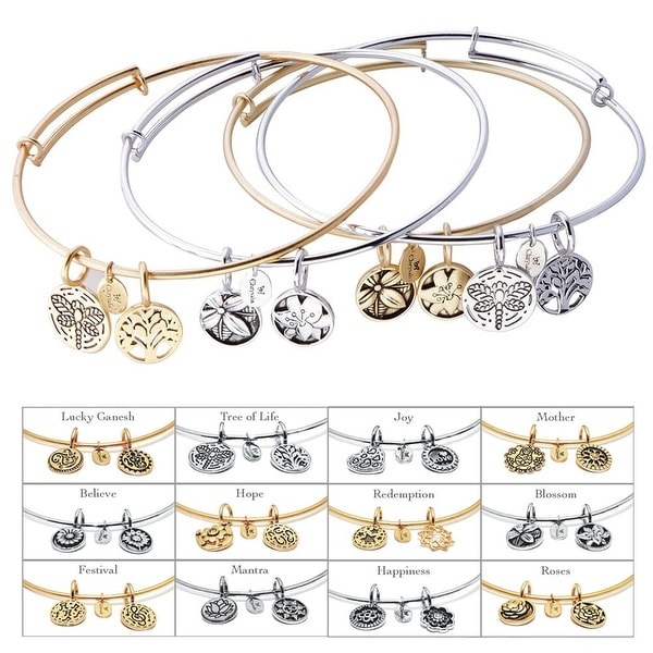 Women's Expandable Symbolic Bangle Bracelet - Silver Rhodium Plated - Mantra