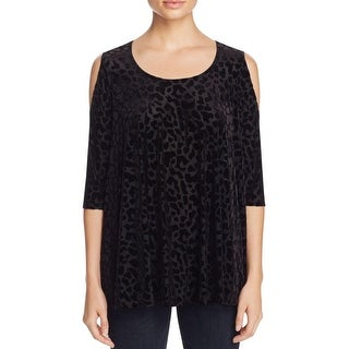 Nally & Millie Womens Casual Top Faux Suede Animal Print