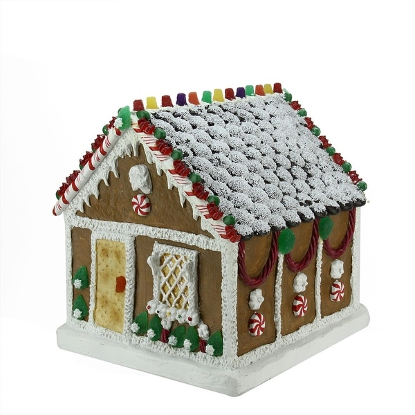 "12.5"" Candied Gingerbread Kindle Cottage Table Top Christmas Decoration"