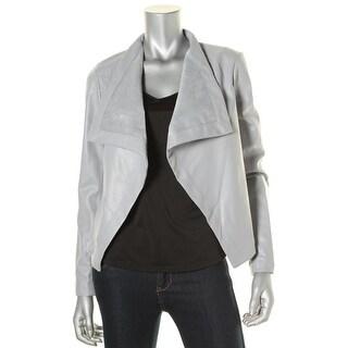 BB Dakota Womens Faux Leather Ribbed Undersleeve Jacket