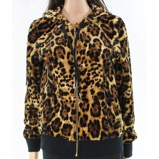 Calvin Klein NEW Brown Animal Leopard Print Medium M Hooded Jacket