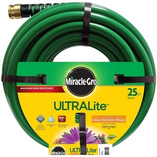 "Miracle Gro CMGUL12025CC UltraLite Garden Hose, 1/2"" Dia x 25' L"