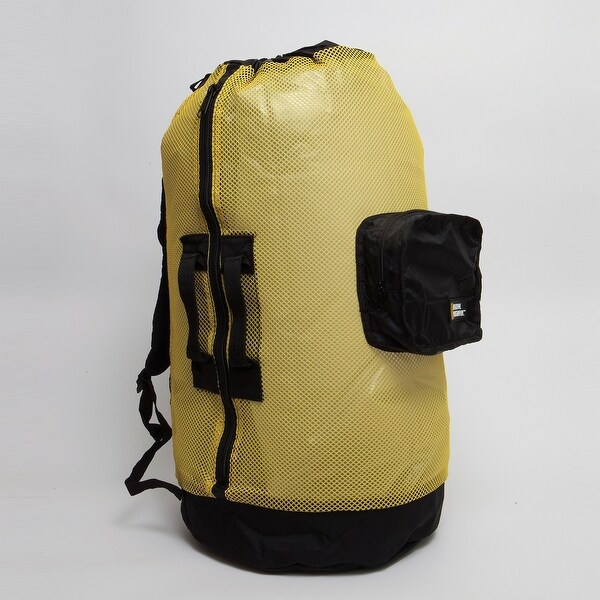 Natl Geographic Clam Shell Mesh Back Pack Dlx 5 Pocket Yellow and Black