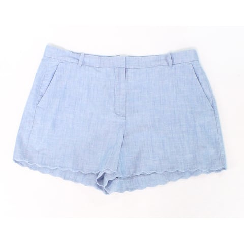 J. Crew Blue Womens Size 14 Flat-Front Scallop Hem Casual Shorts