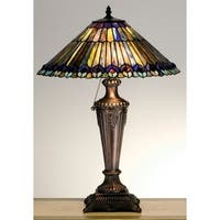 Meyda Tiffany 27563 Stained Glass / Tiffany Table Lamp from the Jeweled Peacock Collection - n/a