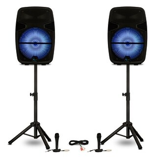 "Technical Pro PB15PKG Bluetooth 15"" Powered LED Speakers Batteries Mics & Stands"