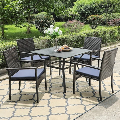 "PHI VILLA Seats up to 4 Outdoor Dining Sets, 37"" Square Metal Bistro Table with 1.7"" Umbrella Hole and 4 Rattan Garden Chairs"