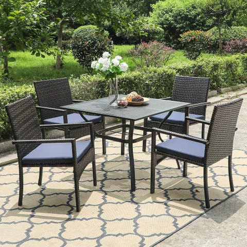 "PHI VILLA Seats up to 4 Outdoor Dining Sets, 37"" Square Metal Bistro Table with Umbrella Hole and 4 Rattan Garden Chairs"
