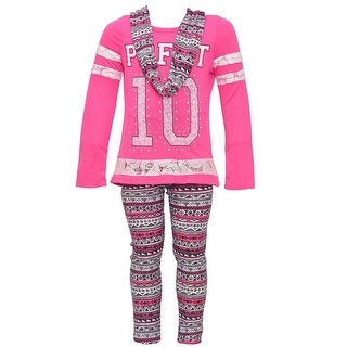 "Dreamstar Little Girls Pink ""10"" Tribal Printed Top Scarf Legging Outfit"