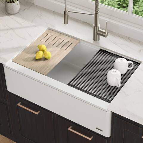 """KRAUS Bellucci 33"""" CeramTek Granite Composite Farmhouse Kitchen Sink"""