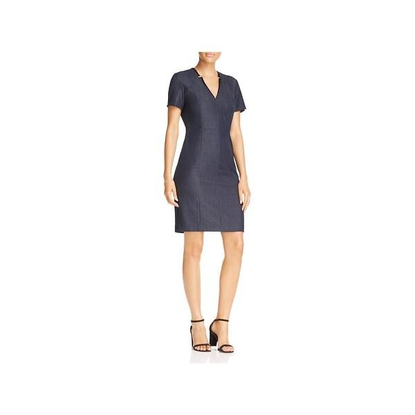 T Tahari Womens Pixie Cocktail Dress Short Sleeves V-Neck