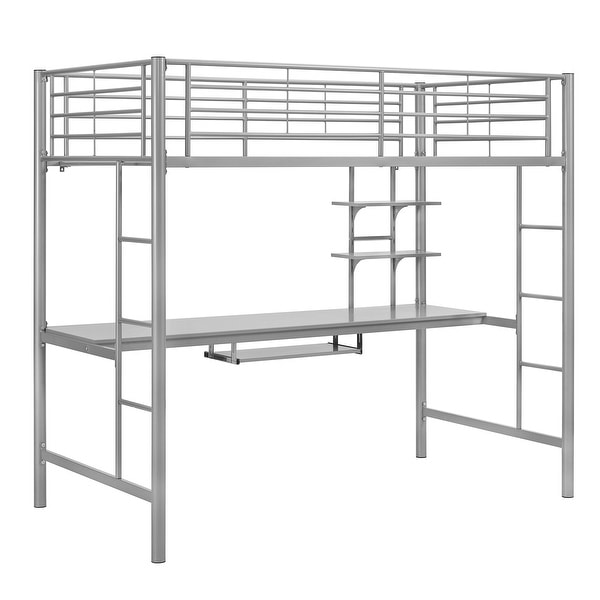 55c2a29660f7 Shop Offex Premium Metal Twin Loft Bed with Detachable Wood Workstation -  Silver - Free Shipping Today - Overstock - 25542145
