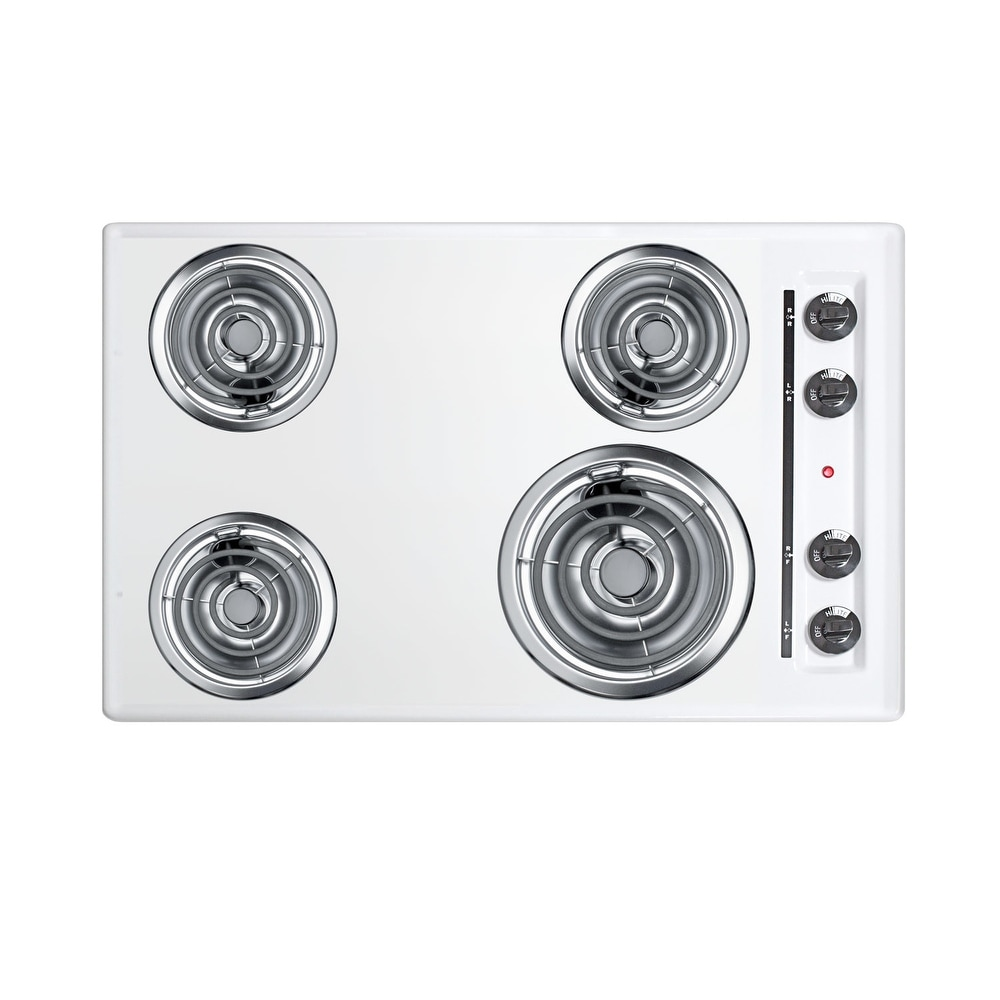 """Summit  WEL05  30"""" Wide 4 Burner Induction Coil Cooktop - 230 Volt - White (White)"""