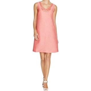 Nic + Zoe Womens Jetset Wear to Work Dress Linen Embellished