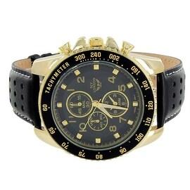 Mens Watch NY London 3 Timezone Chronograph Black Band Elegant Look