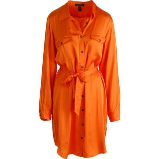 Lauren Ralph Lauren Womens Satin Collared Shirtdress