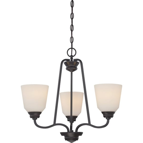 "Nuvo Lighting 62/379 Calvin 3-Light 22"" Wide LED Chandelier - Mahogany Bronze - n/a"