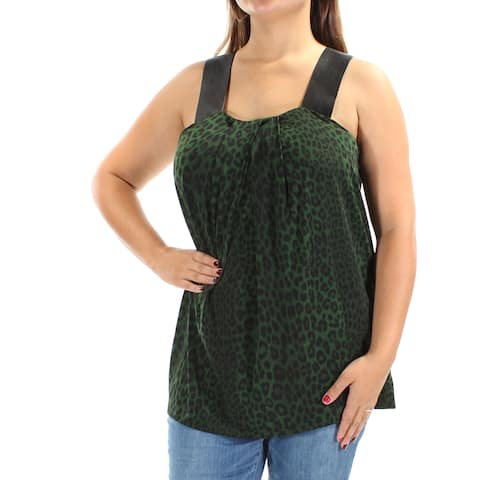 MICHAEL KORS Womens Green Faux Leather Animal Print Sleeveless Square Neck Top Size: L