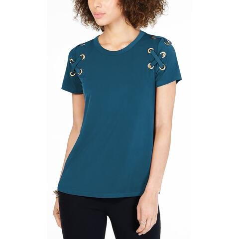MICHAEL Michael Kors Womens Lace-Up T-Shirt X-Large Luxe Teal