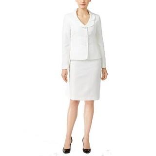 Le Suit NEW White Vanilla Women's Size 12 Petal-Collar Skirt Suit Set