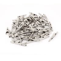 Unique Bargains 65 Pcs Electric Test Crocodile Alligator Clips Clamps Silver Tone