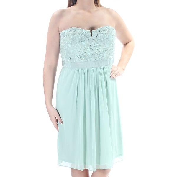 Shop Womens Green Knee Length A Line Prom Dress Size 14 On Sale