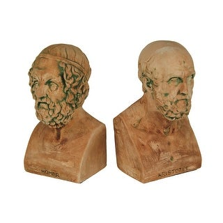 Terracotta Finish Aristotle And Homer Bust Bookends Greek Philosophy